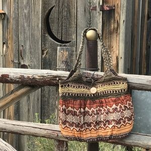 Handbags - Brown Woven Straw Scarf Tote Bag